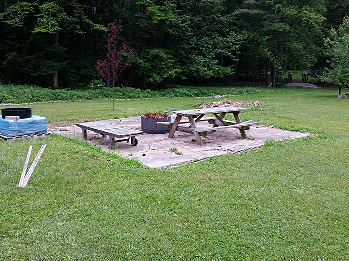 Rural Brick Patio with Circular Fire Pit [BEFORE ANGLE 2]