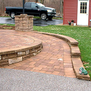 Featured Landscape: Curved Brick Block Patio and Sidewalk